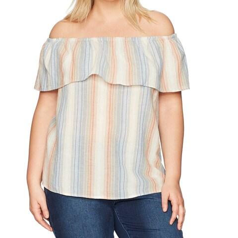 Vintage America Beige Women's Size 3X Plus Hera Yarn Dyed Gauze Top