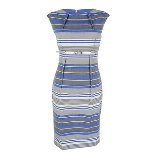 1a0a8247 Shop Calvin Klein Women's Cap-Sleeve Belted Striped Sheath Dress  (Atlantis/White, 2) - atlantis/white - 2 - Free Shipping On Orders Over $45  - Overstock - ...
