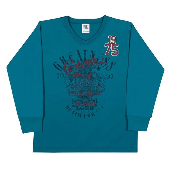Boys long sleeve shirt v neck graphic tee kids pulla bulla for 7 year old boy shirt size