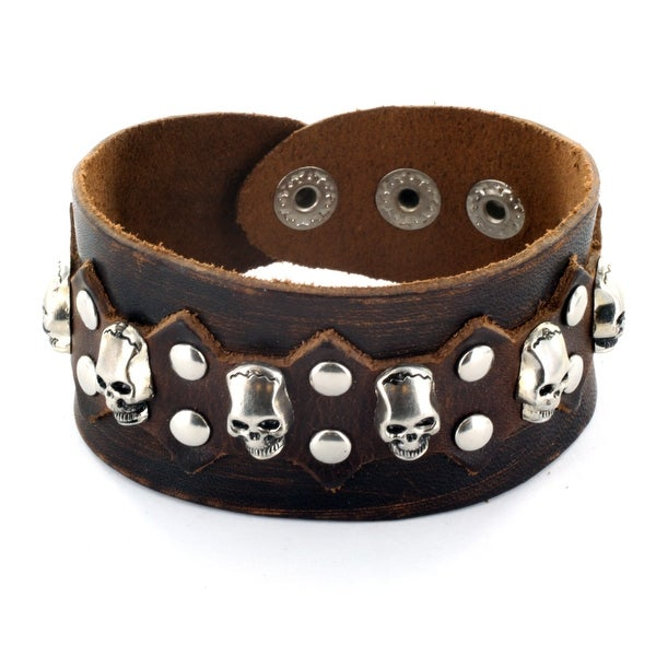 Brown Leather Bracelet with Multi Skulls and Round Studs with Spike Center Design (37 mm) - 7.5 in