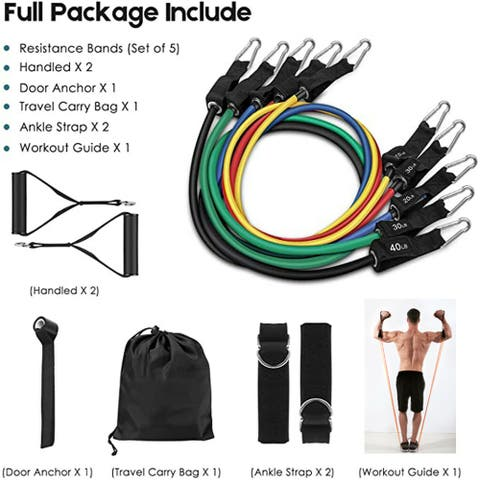 150LBS Pull Rope Exercise Resistance Bands with Handles - L
