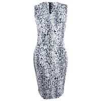 Calvin Klein Women's Snakeskin-Print Scuba Sheath Dress - black cream
