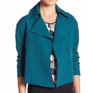 Anne Klein NEW Green Women's Size 14 Open Front Notch Collar Jacket