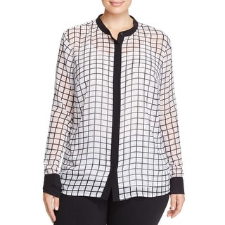MICHAEL Michael Kors Womens Plus Blouse Chiffon Checkered