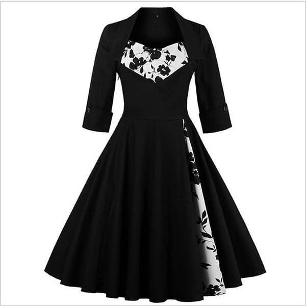 Rockabilly Black Floral Vintage Retro Party Dress Plus Size - L