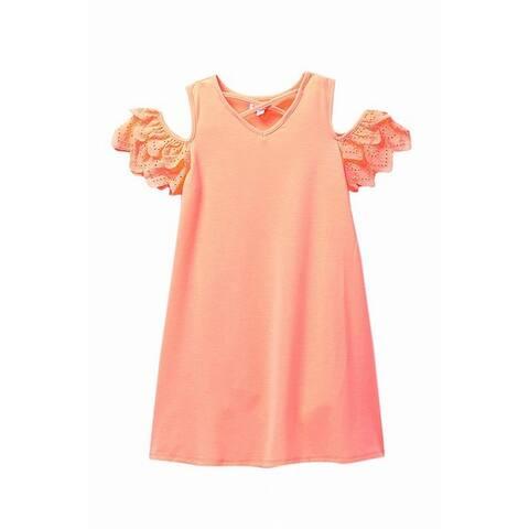 Love Fire Girls Dress Neon Orange Size Small S Cold Shoulder Ruffle