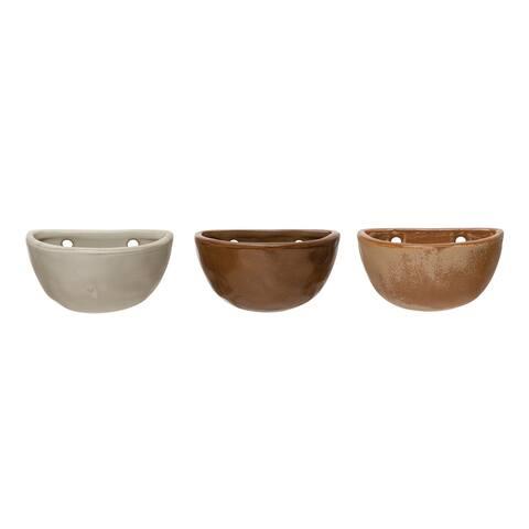 Stoneware Wall Pot with Reactive Glaze, Set of 3 Styles