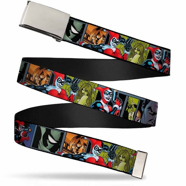 "Blank Chrome 1.0"" Buckle Harley Quinn Night And Day Comic Book Character Web Belt 1.0"" Wide - S"