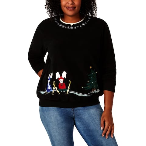 Alfred Dunner Womens Pullover Sweater Embroidered Long Sleeves