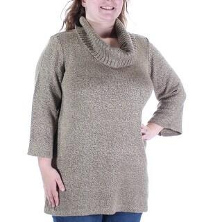KAREN SCOTT $24 Womens New 1282 Beige Jewel Neck 3/4 Sleeve Casual Sweater L B+B