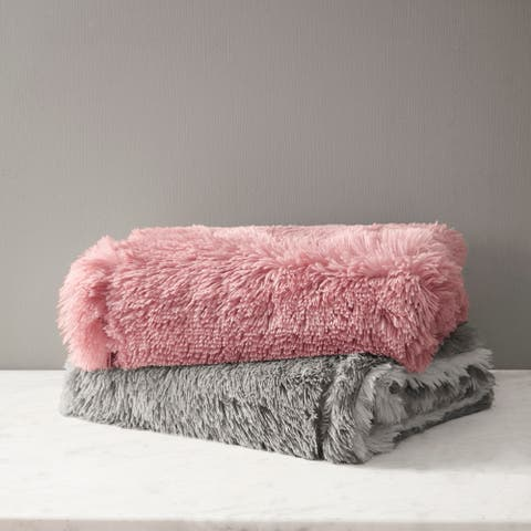 CosmoLiving Cleo Ombre Print Shaggy Fur Throw