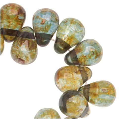 Czech Glass Teardrop Beads 6x4mm 'Transparent Green' (50)