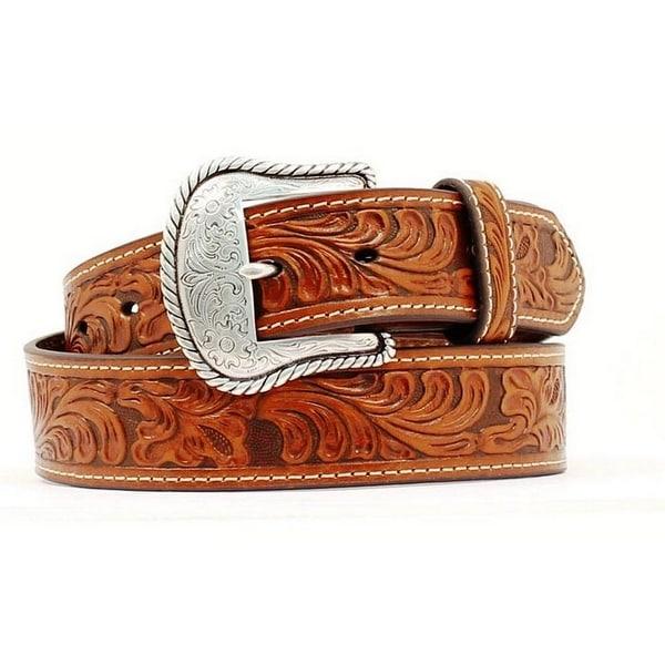 Nocona Western Belt Mens Leather Embossed Tooled Copper