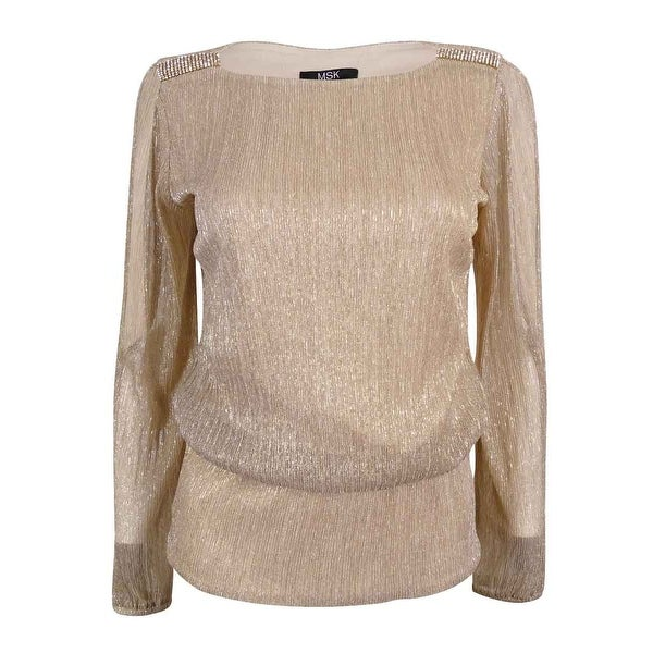 0551433e97ecf Shop MSK Women s Metallic Cold Shoulder Blouson Top - taupe silver gold - xL  - Free Shipping On Orders Over  45 - Overstock - 17116442