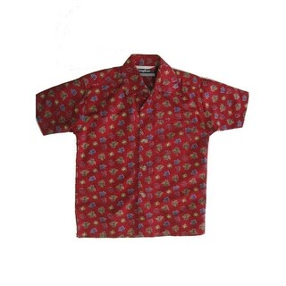 Timber Baby Boys Red Bug Allover Printed Long Sleeve Button Shirt 12M-24M