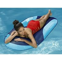 "66"" Aqua and Dark Blue Mesh SunDry Swimming Pool Spring Float Lounger"