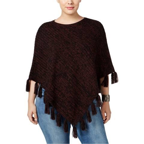 Style&Co. Womens Fringe Poncho Sweater