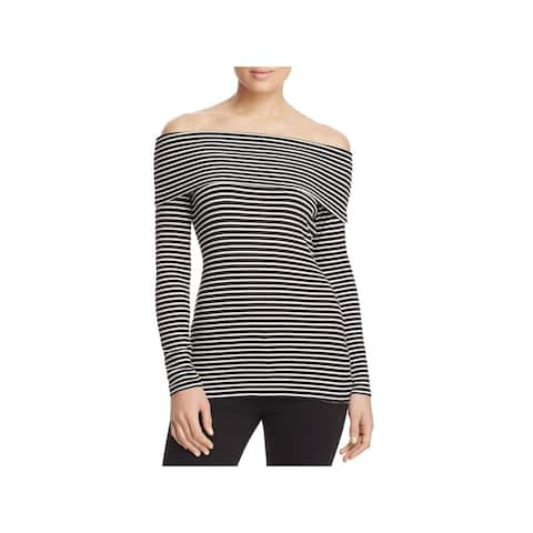 Red Haute Womens Pullover Top Off-The-Shoulder Striped