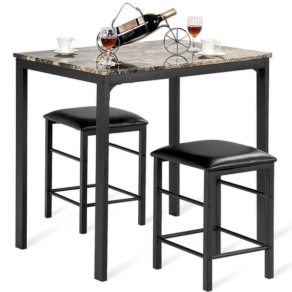 Shop Costway 3 PCS Counter Height Dining Set Faux Marble