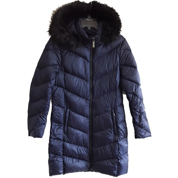 Michael Kors Quilted Packable Puffer Faux Fur Hood Coat, Navy, Large. Opens flyout.