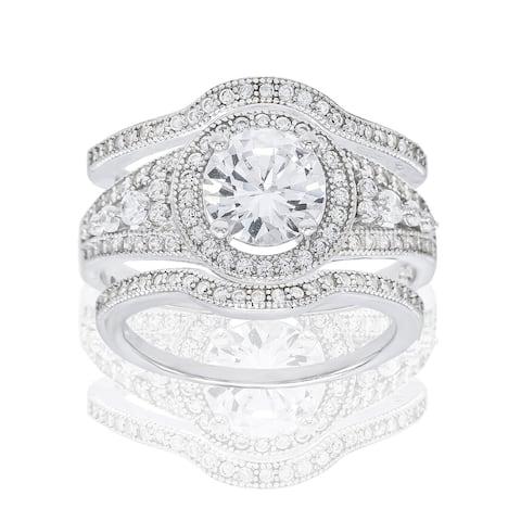 3-Piece Round-Cut Halo Cubic Zirconia Bridal Set, Sterling Silver