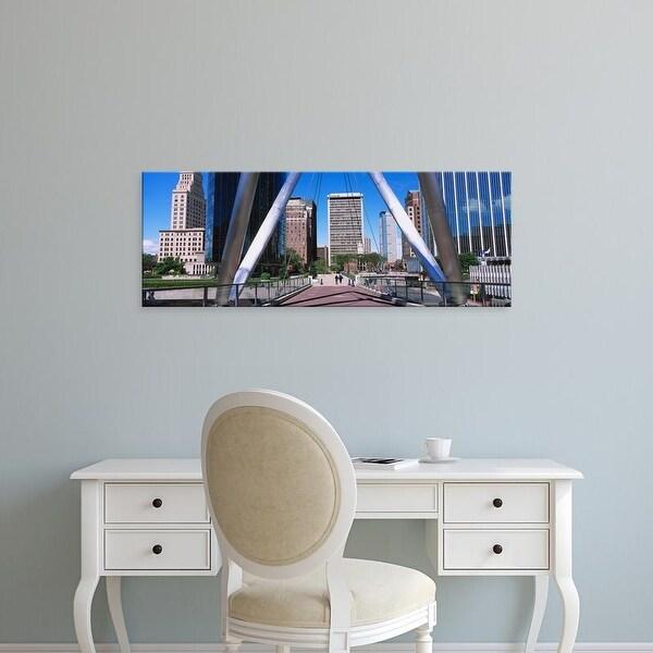Easy Art Prints Panoramic Image 'Pillars on a suspension bridge, Hartford, Connecticut, New England, USA' Canvas Art