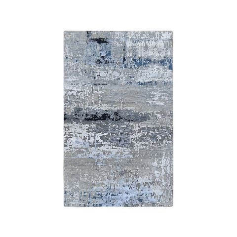 """Shahbanu Rugs Gray Abstract Design Wool And Silk Hand Knotted Oriental Rug (2'9"""" x 4'10"""") - 2'9"""" x 4'10"""""""