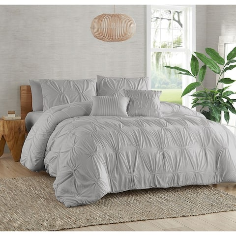 Garment Washed Elastic 5-Piece Comforter Set