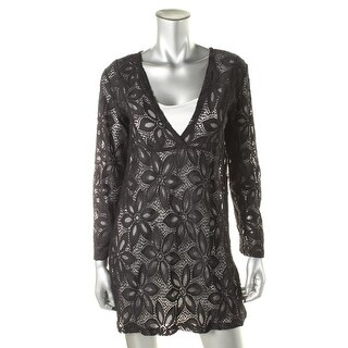 J Valdi Womens Lace Long Sleeve Dress Swim Cover-Up - M