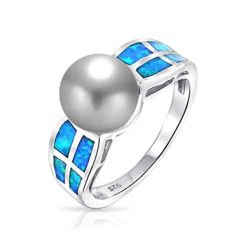 Blue Created Opal Ring Imitation Grey Pearl 8mm 925 Sterling Silver