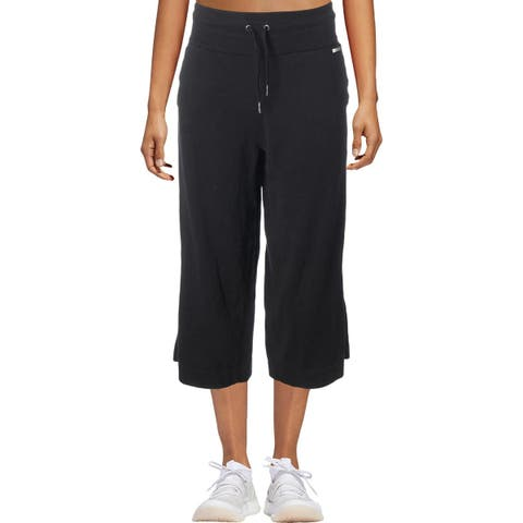Calvin Klein Performance Womens Capri Pants Wide Leg High Waist