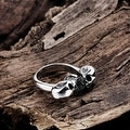 Vienna Jewelry Double Stainless Steel Skull Ring - Thumbnail 1