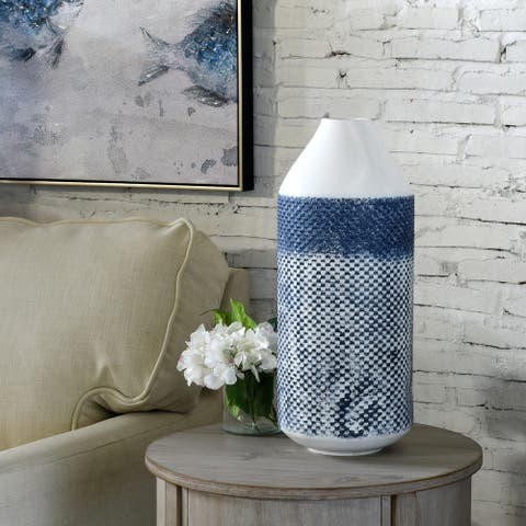 StyleCraft Cree 20-inch White and Blue Distressed Checkered Cylinder Metal Vase