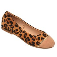 Jelly Beans Girls Camel Brown Leopard Pattern Solid Cap Toe Flats
