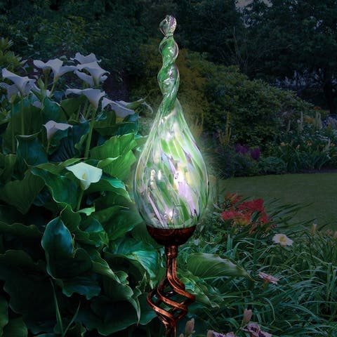 Exhart Solar Pearlized Hand Blown Glass Twisted Flame Garden Stake with Metal Finial Detail, 36 Inch