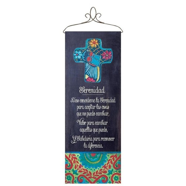 """White and Black Religious Serenity Prayer Spanish Themed Wall Panel 13"""" x 36.5"""" - N/A"""