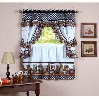 Mason Jars Tier & Swag Kitchen Curtain Cottage Set - 57x36 & 57x30 - 57 x 30 inches