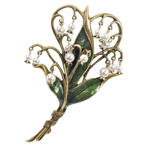 """Women's Lily of the Valley Brooch Pin with Embedded Seed Pearls - Measures 2 1/2"""" x 4"""""""