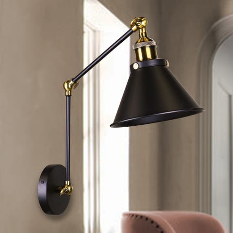 Payne Matte Black & Antique Brass 1-Light Wall Sconce with Metal Cone Shade
