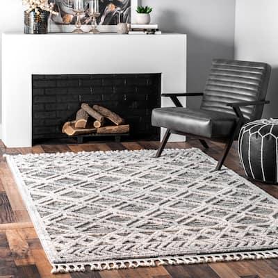 nuLOOM Geometric Ansley Boho Textured Tassel Area Rug