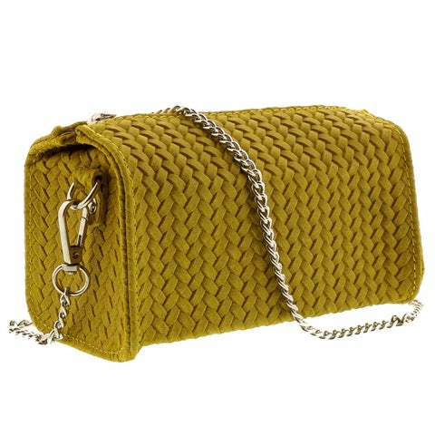 HS1152 GL PIA Yellow Leather Wristlet/Crossbody Bag - 7-4-4