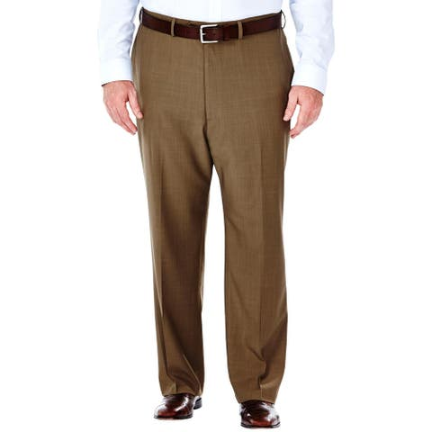 Haggar Mens Big & Tall Dress Pants Solid Flat Front