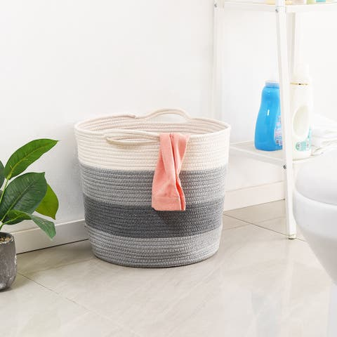 "Large Woven Storage Basket Cotton Rope Organizer - 15.7"" x 14.6"""