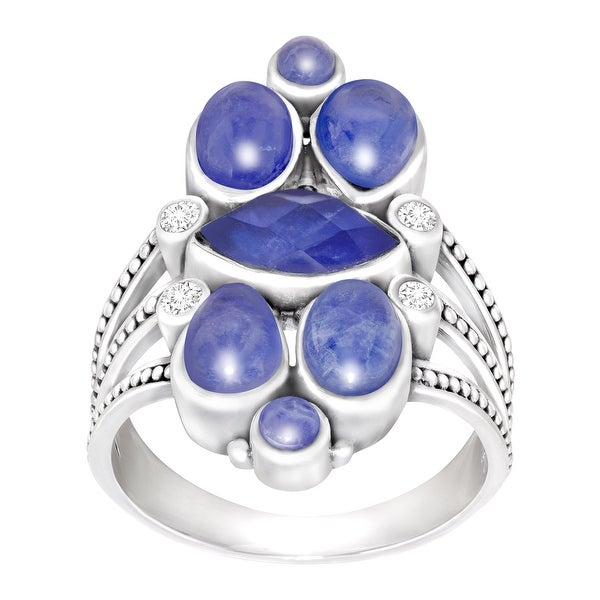 Sajen Natural Sodalite & Mother-of-Pearl Triplet Ring in Sterling Silver - Blue
