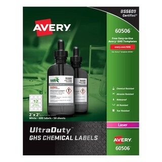 Avery Labels Laser Chemical Ultra Duty 2 IN X 2 IN Pack of 600