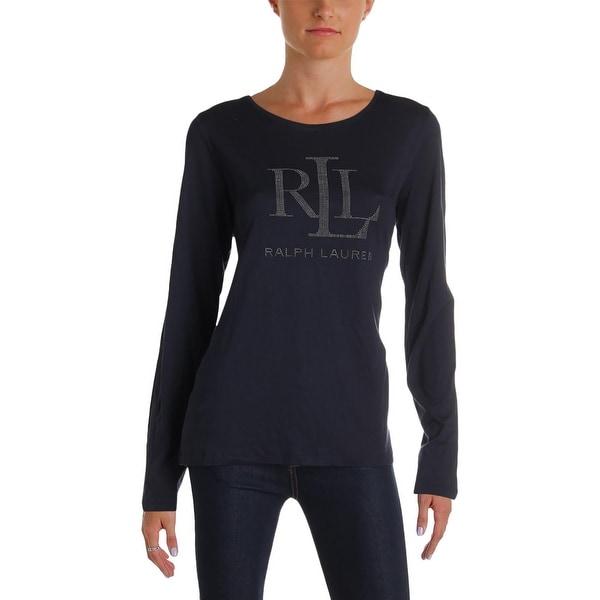 designer fashion 5e188 abd08 Lauren Ralph Lauren Womens Pullover Top Slim-Fit Graphic - L