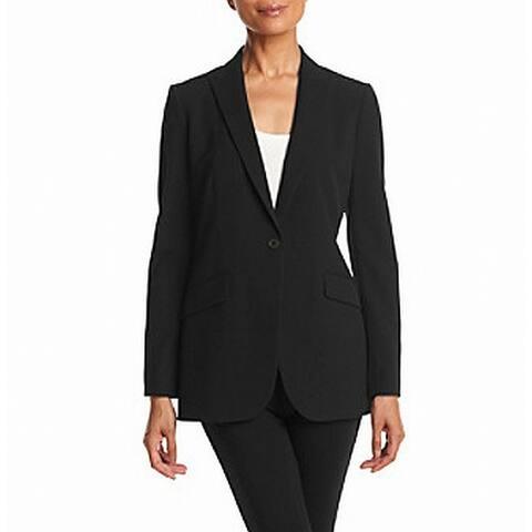 Anne Klein Womens Jacket Black Size 10 Blazer One Button Peaked Lapel