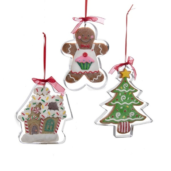 """4.5"""" Gingerbread Kisses Glittered Boy Cookie Cutter Christmas Ornament - brown"""