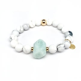 White Howlite & Aqua 'Rock Candy' stretch bracelet 14k Over Sterling Silver