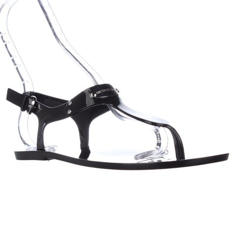 Michael Kors MK Plate Jelly Thong Sandals, Black